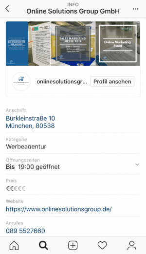 Screenshot OSG Instagram testet neue Funktion für lokale Unternehmen