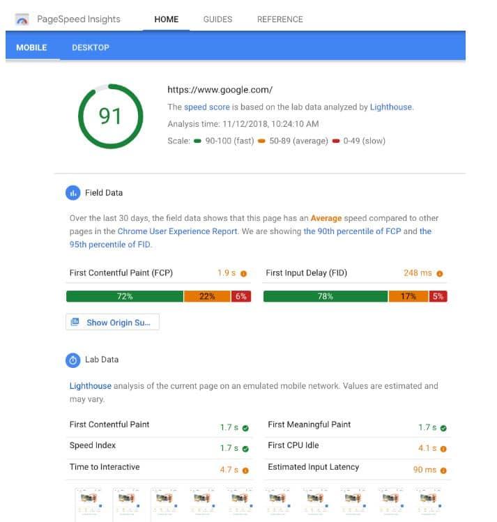 Die neue Oberfläche von PageSpeed Insights liefert nun Daten aus Google Lighthouse und ist an diese angelehnt