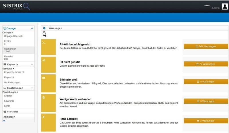 Screenshot SistrixSmart Onpage-Check