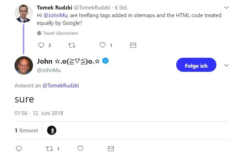 Screenshot Tweet John Mueller hreflang
