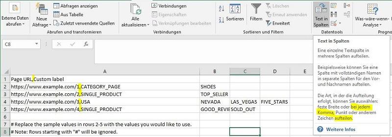 Screenshot der Seitenfeed-Vorlage als CSV-Datei in Excel