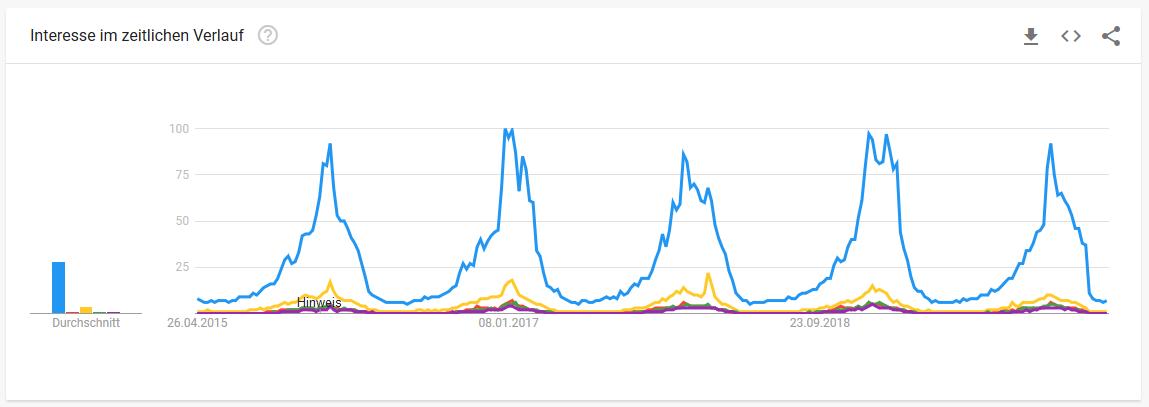 Skiverleihbranche Google Trends