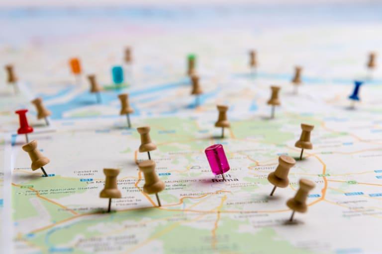 Standort Pinnadeln auf Stadtplan