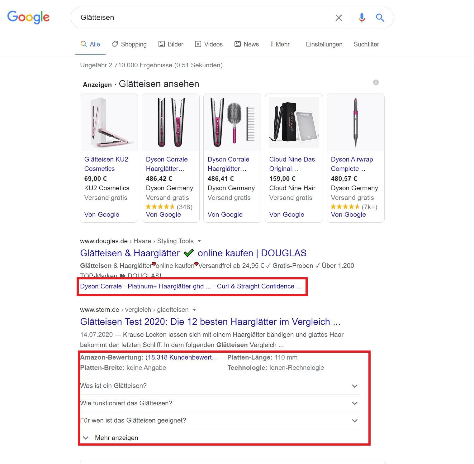 Struktrierte Daten: Snippets in Google Suchergebnissen
