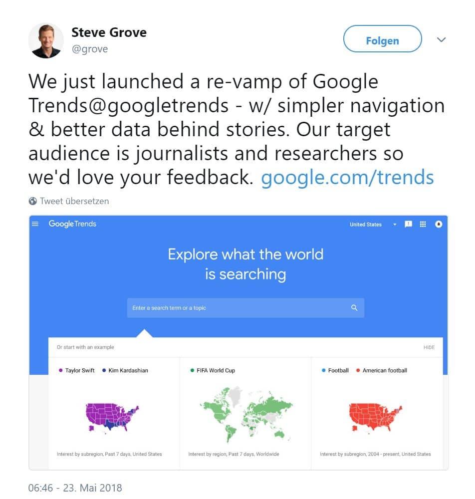 Tweet von Steve Grove zu neuem Google Trends