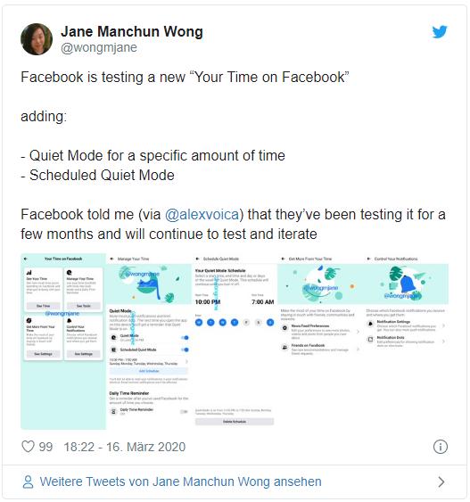 Twitter Facebook Quiet Mode