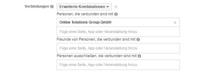 Erweiterte Kombinationen für Verbindungen bei Facebook Werbeanzeigen