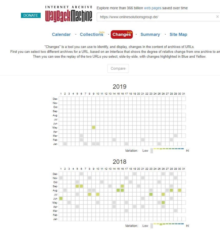 Wayback Maschine Screenshot