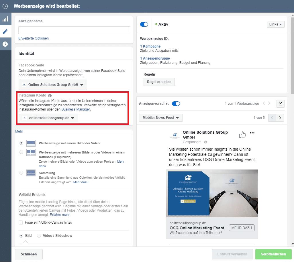 Werbeanzeigenmanager Facebook und Instagram