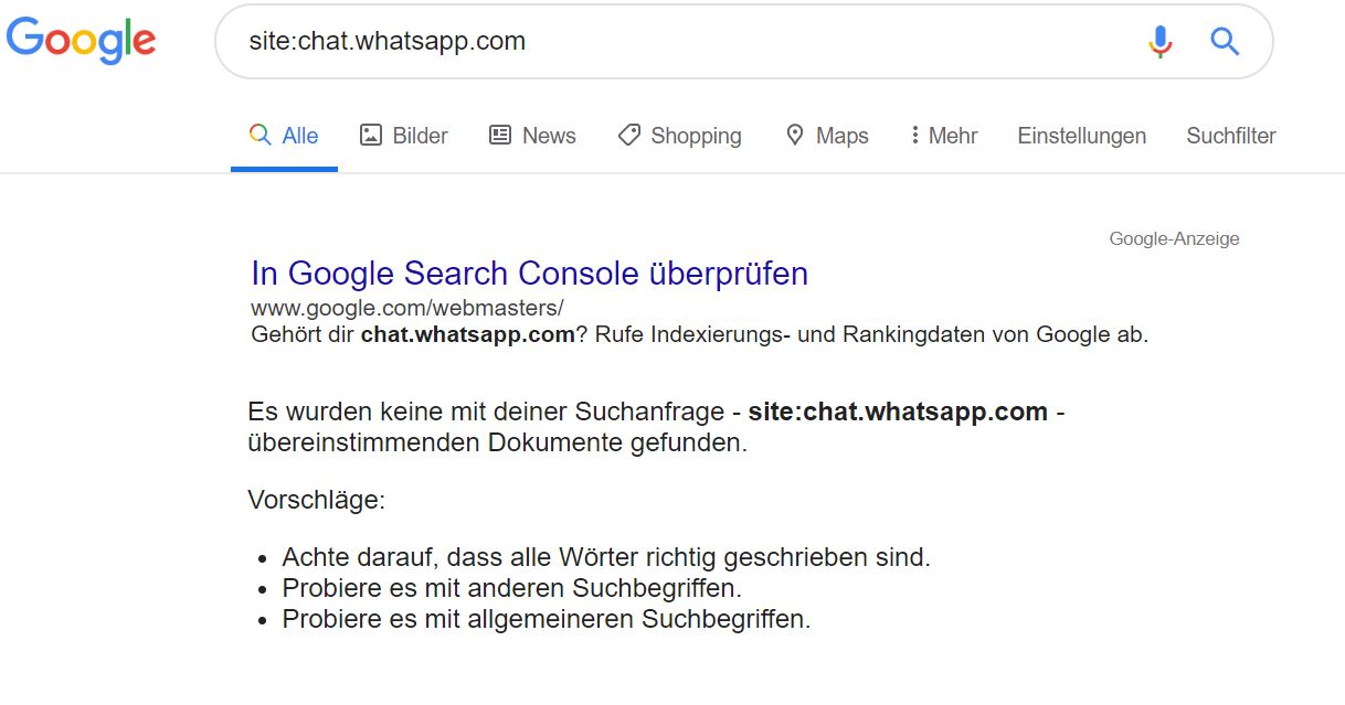 WhatsApp-Gruppen in Google nicht indexiert