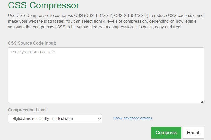 WordPress Ladezeitenoptimierung Java-Script Kompressor Tool: CSS Compressor