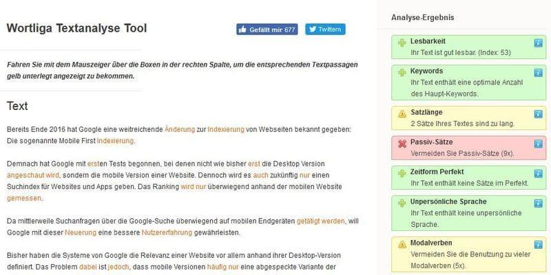 Wortliga - kostenloses Textanalyse-Tool