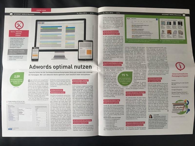 Adwords optimal Nutzen Zeitungsartikel