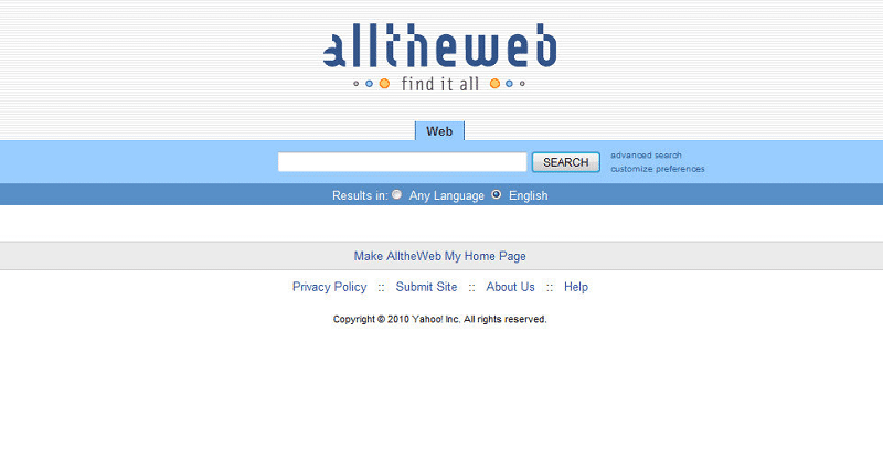 UI der Suchmaschine AlltheWeb