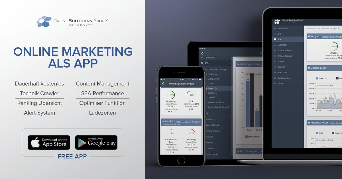 Über große Displaybanner können Features, Funktionen und Design der App vorgestellt werden.