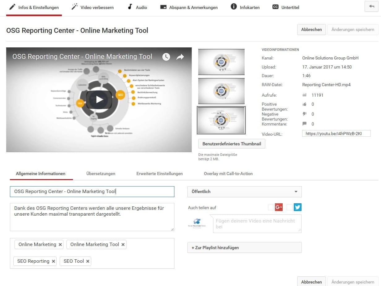 Benutzerdefinierte Thumbnails - YouTube SEO