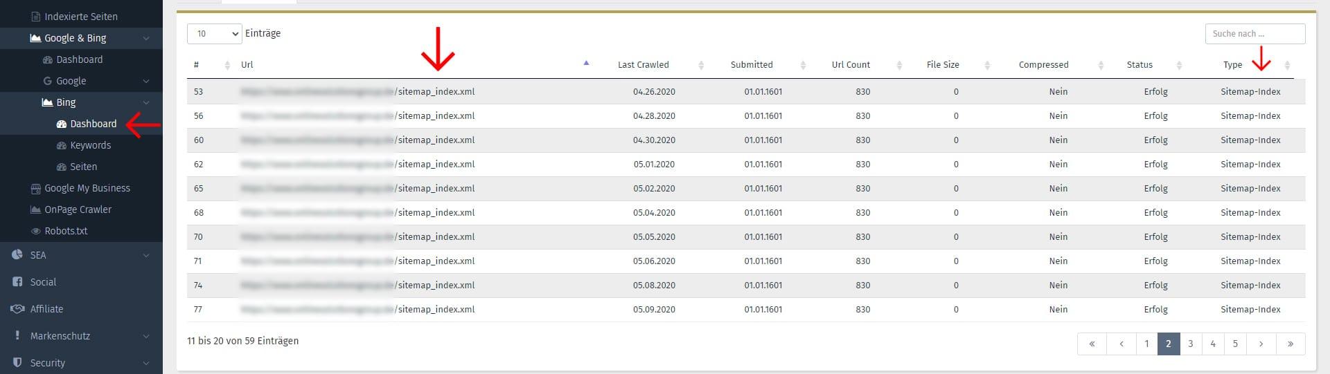 Bing Webmaster Tool - Sitemaps