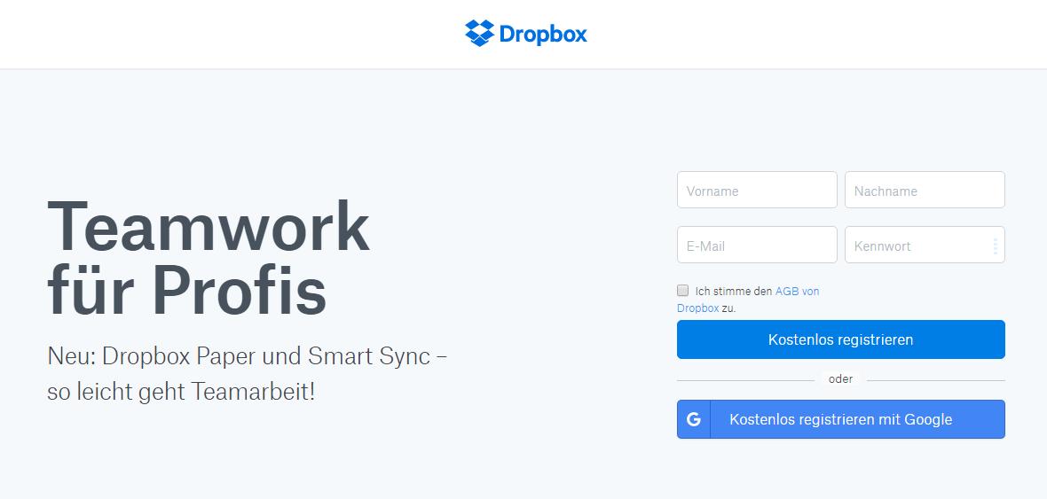 CTA auf der Startseite von Dropbox