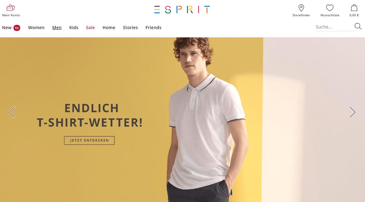 Landingpage für Herrenmode bei Esprit