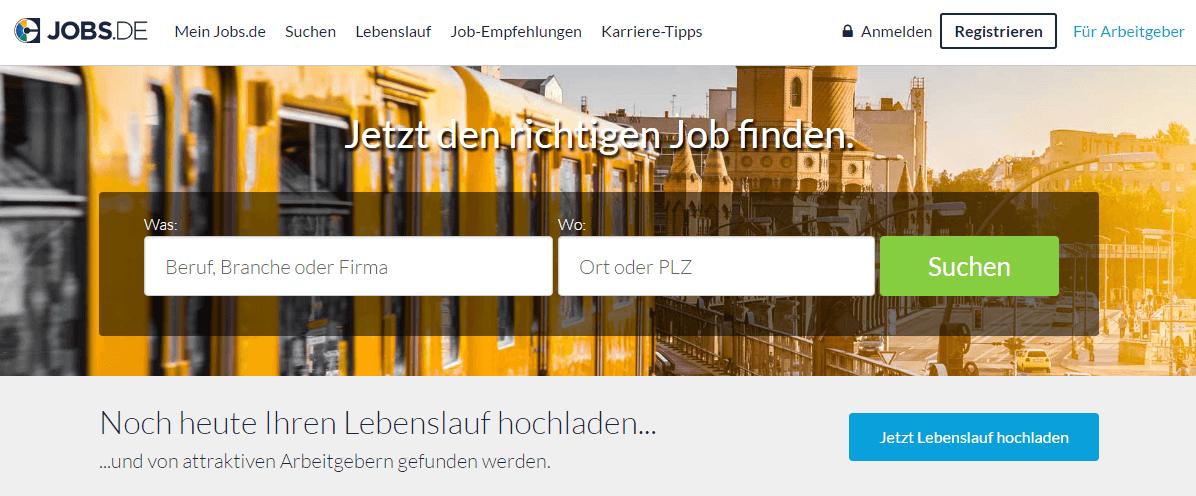 CTA auf der Startseite von jobs.de