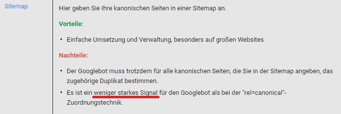 Screenshot: Angaben in XML-Sitemaps ersetzen keine canonical-tags