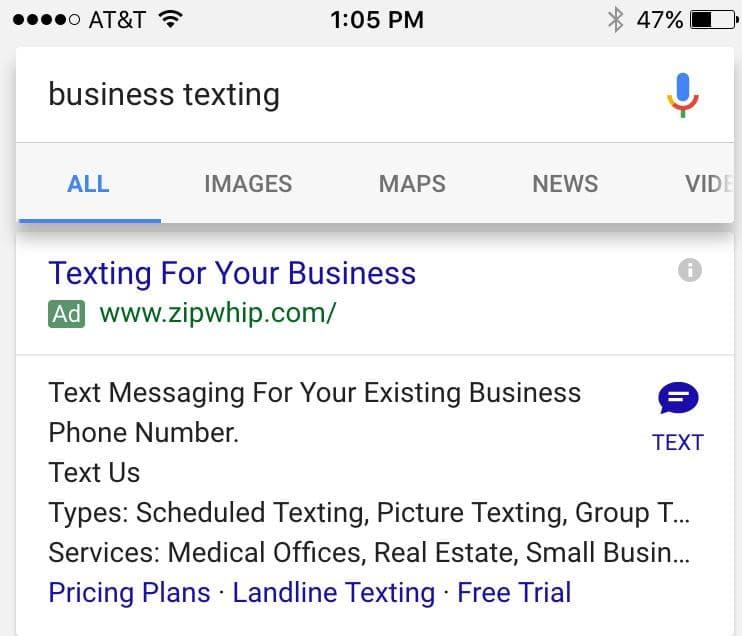 Klick to SMS Anzeigenerweiterung