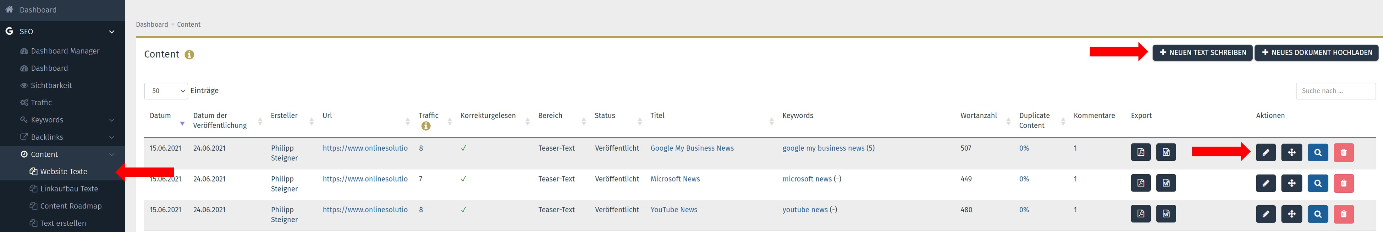 SEO Content Tool Performance Suite Anleitung