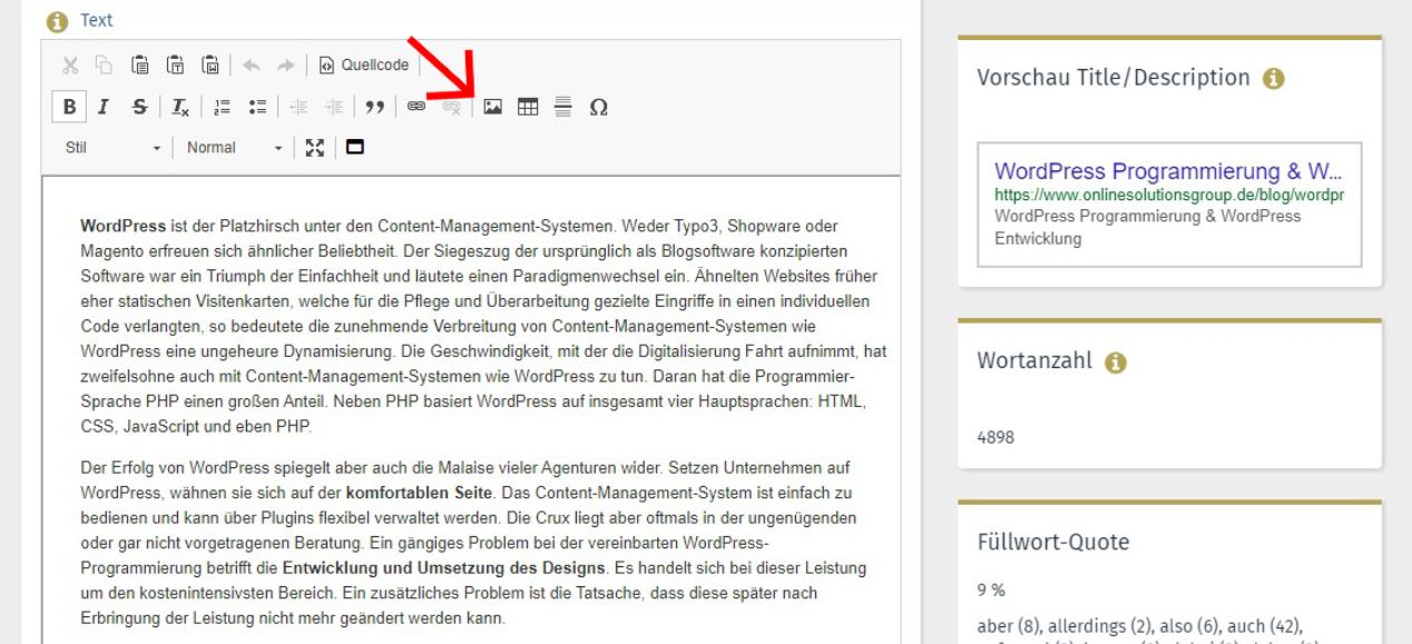 SEO Content Tool Performance Suite Medienverwaltung