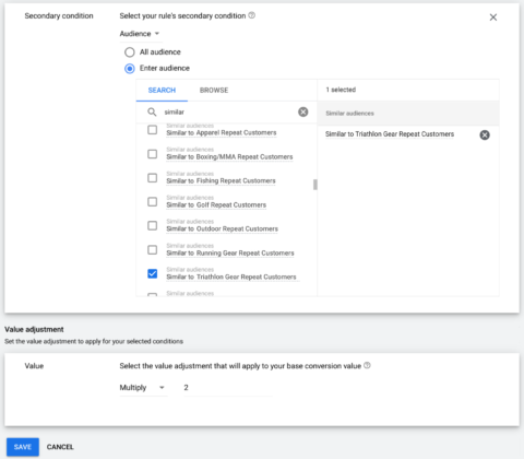 Googles Ads neue Conversion-Value-Regeln sekundäre Regeln