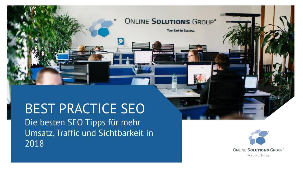 Coverbild für die .pdf Best Practice SEO 2018 der OSG auf der Internetworld 2018