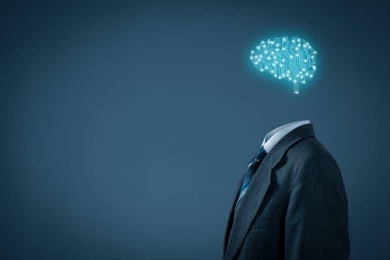 Coverbild mit einem Anzugträger, der statt eines Kopfs, ein blau leuchtendes, künstliches Gehirn trägt