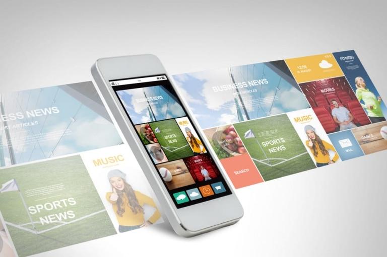 iPhone Bildschirm mit News Stories