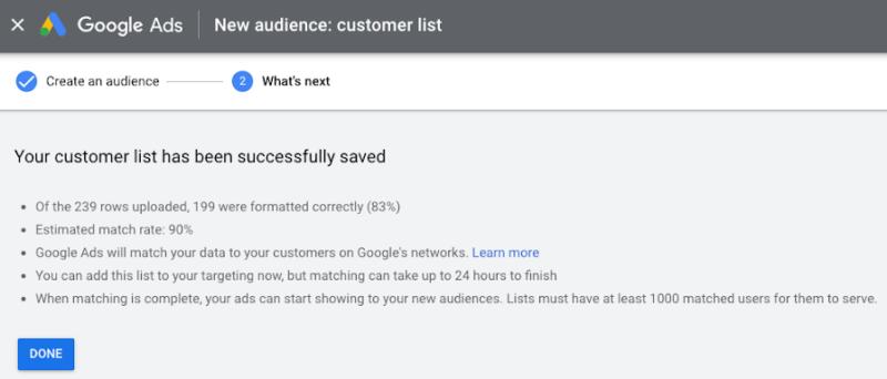 Customer Match Rate Google Ads