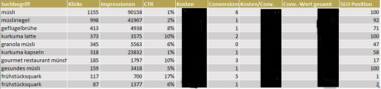 Screenshot aus einer Excel taballe über einen Suchanfragen Bericht