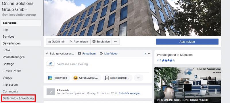 Anzeigen von Facebook-Seiten können jetzt einfach aufgerufen werden