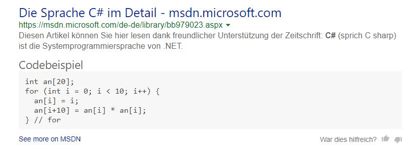 farbliche Hervorhebung in Code Ausschnitten C#