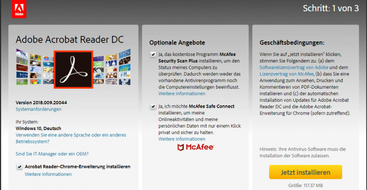Screenshot von Adobe Acrobat Reader DC