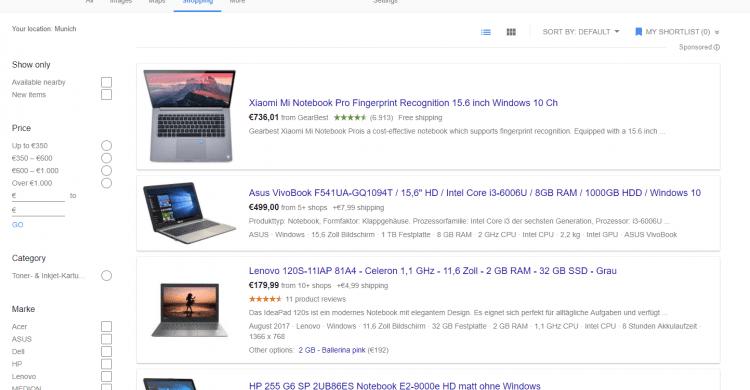 Screenshot von Froogle