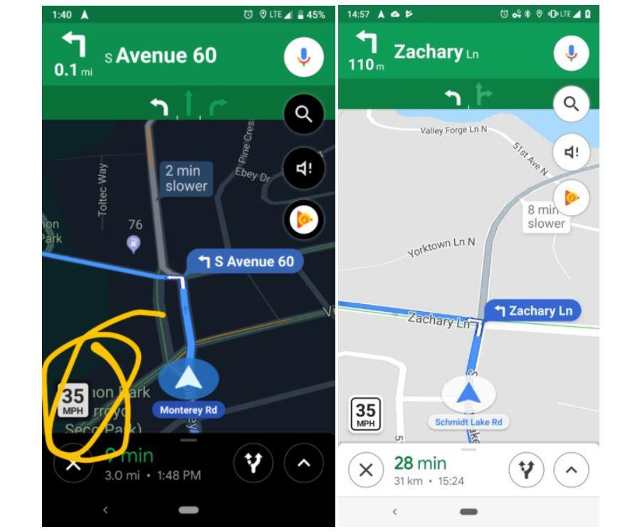 Angabe der erlaubten Höchstgeschwindigkeit auf Google Maps
