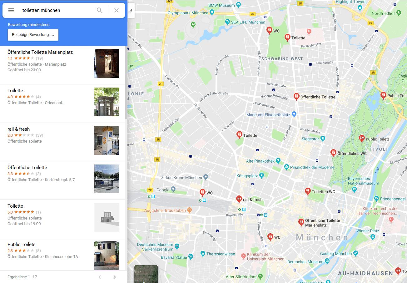 Google Maps Toiletten