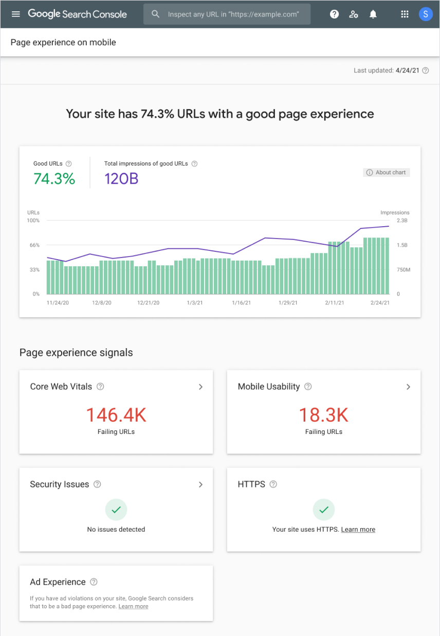 Google Page Experience Report Update