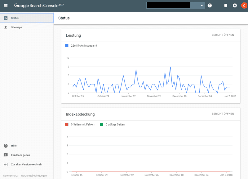 Dashboard in der neuen Google Search Console