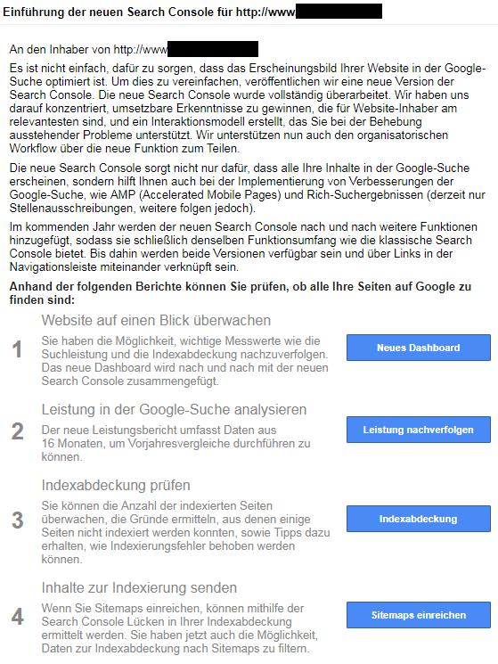 Mail in der Google Search Console nach der Freischaltung für die Beta-Version