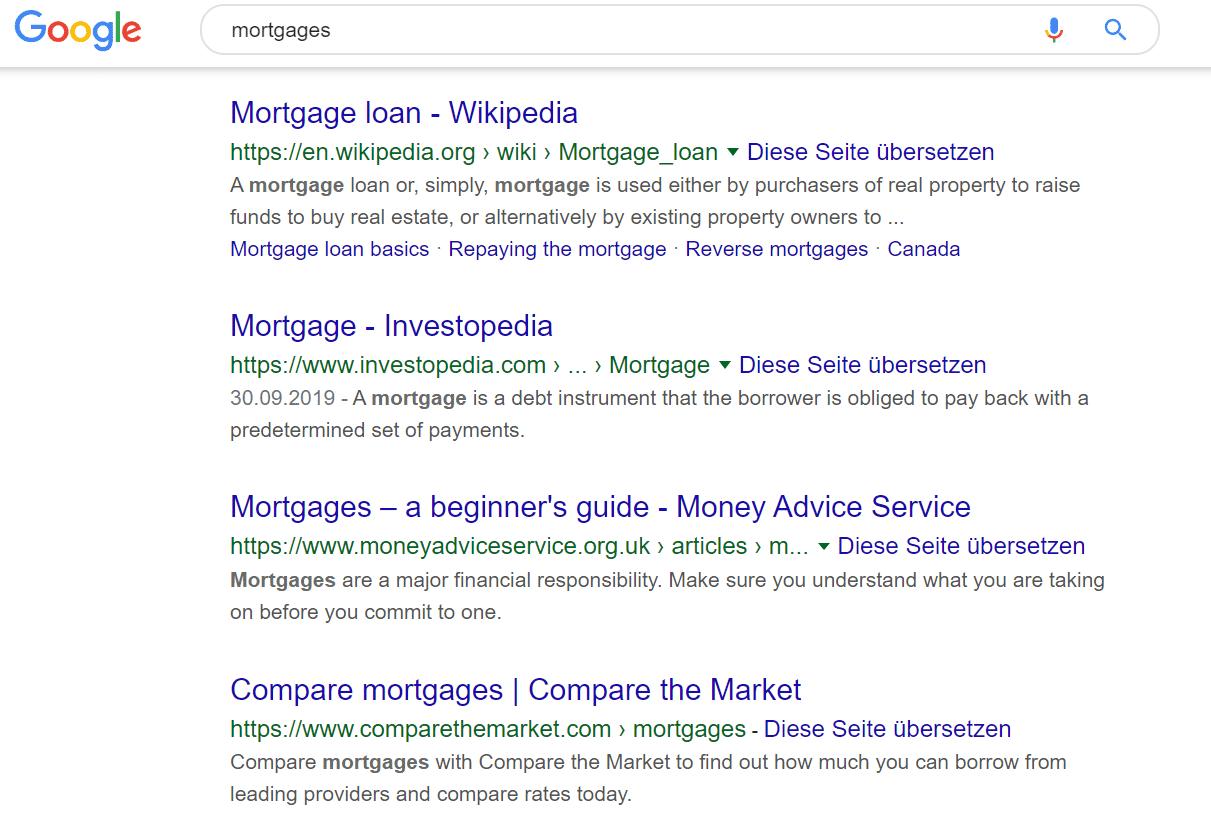 google serp mit urls