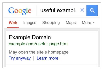Weiterleitung in Google serps