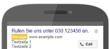 Google Ads Anzeige Handy