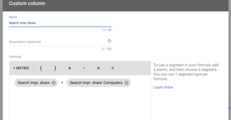 Google Ads inkludiert Impression Share Daten in Custom Columns