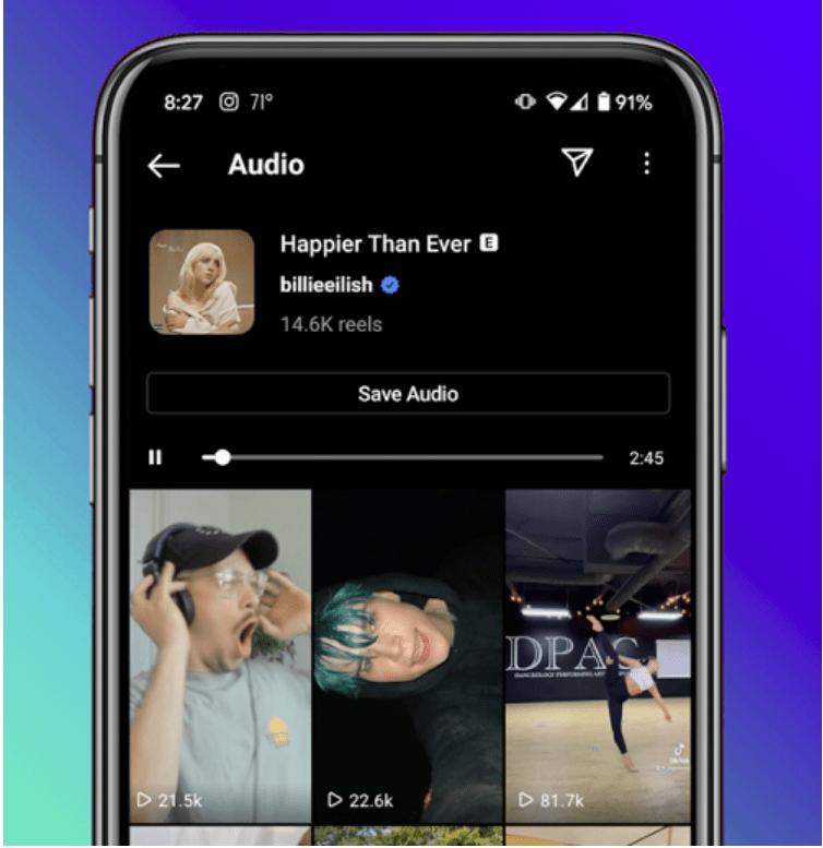 """Instagram: Neuer """"Audio"""" Tab"""