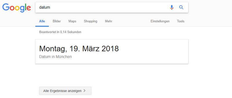 Screenshot: Google zeigt teilweise keine Suchergebnisse mehr auf den SERPs an