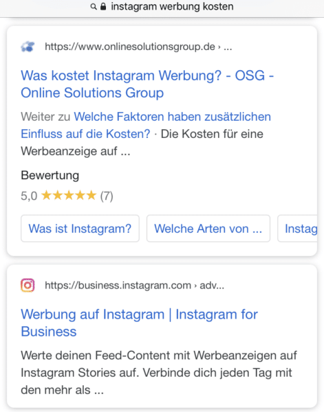 Link in der Meta Description Mobil